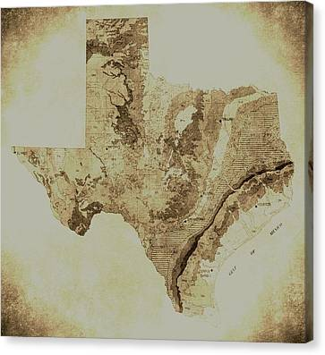 Map Of Texas In Vintage Canvas Print