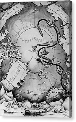 Map Of The Arctic Voyage Of The Airship Lz 127 Graf Zeppelin, 1931 Canvas Print by German School
