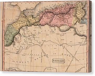 Map Of The Barbary States Of North Canvas Print by Everett