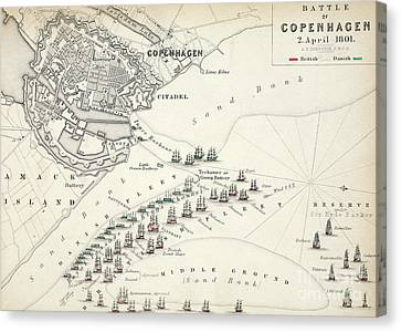 Map Of The Battle Of Copenhagen Canvas Print by Alexander Keith Johnston