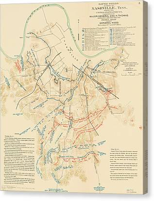 Map Of The Battle Of Nashville - American Civil War Canvas Print