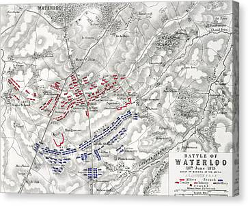 Wellington Canvas Print - Map Of The Battle Of Waterloo by Alexander Keith Johnston