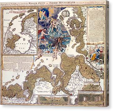 Map Of The Christmas Flood Of 1717 Canvas Print by Johann Baptista Homann