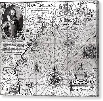 Old Canvas Print - Map Of The Coast Of New England by Simon de Passe