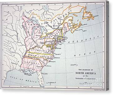 Map Of The Colonies Of North America At The Time Of The Declaration Of Independence Canvas Print by American School