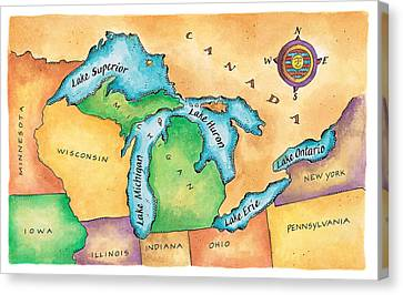 Map Of The Great Lakes Canvas Print by Jennifer Thermes