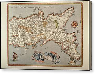 Map Of The Kingdom Of Naples Canvas Print by Fototeca Storica Nazionale
