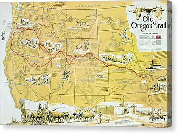 Map Of The Old Oregon Trail Canvas Print by American School