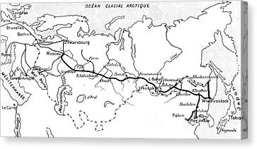Map Of The Route Of The Trans Siberian Railway Canvas Print by French School