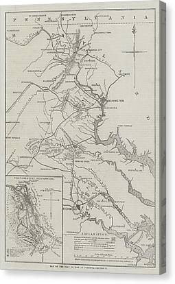 Virginia Canvas Print - Map Of The Seat Of War In Virginia by John Dower