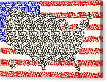 Map Of The United States Of America Pop Art Canvas Print by Edward Fielding