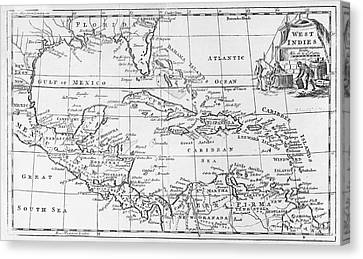 Map Of The West Indies Florida And South America Canvas Print by English School