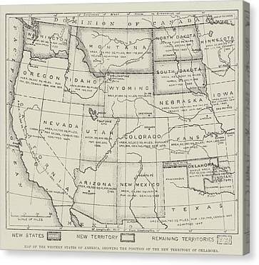 Map Of The Western States Of America Canvas Print by English School