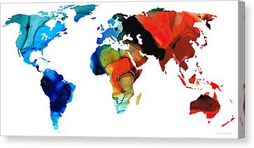 Map Of The World 3 -colorful Abstract Art Canvas Print by Sharon Cummings