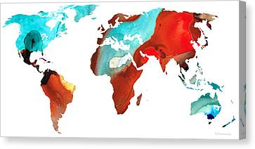 Map Of The World 4 -colorful Abstract Art Canvas Print by Sharon Cummings