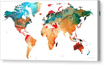 Map Of The World 7 -colorful Abstract Art Canvas Print