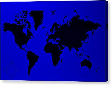 Canvas Print featuring the photograph Map Of The World Blue by Rob Hans
