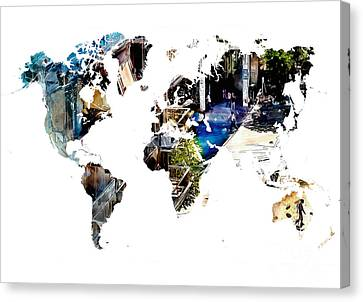 Map Of The World Blue Watercolor Canvas Print by Justyna JBJart