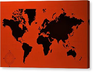 Canvas Print featuring the photograph Map Of The World Copper by Rob Hans