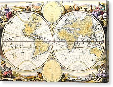 Map Of The World Canvas Print by Daniel Stoopendaal