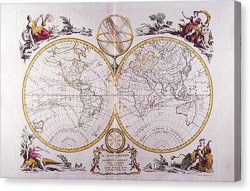 Map Of The World Canvas Print by Fototeca Storica Nazionale