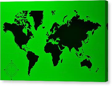 Canvas Print featuring the photograph Map Of The World Green by Rob Hans