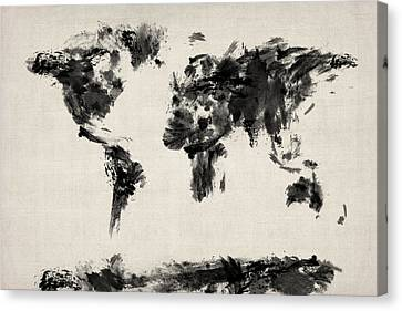 World Map Canvas Print - Map Of The World Map Abstract by Michael Tompsett