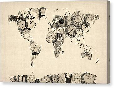 World Map Canvas Print - Map Of The World Map From Old Clocks by Michael Tompsett