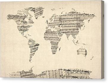 World Map Canvas Print - Map Of The World Map From Old Sheet Music by Michael Tompsett