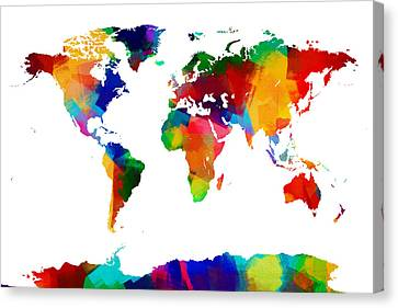 Map Of The World Map Painting Canvas Print by Michael Tompsett