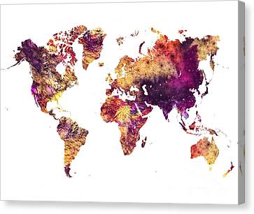 World Map Canvas Print - Map Of The World Purple by Justyna JBJart