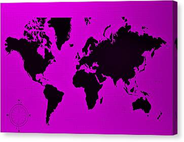Canvas Print featuring the photograph Map Of The World Purple by Rob Hans