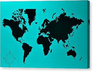 Canvas Print featuring the photograph Map Of The World Turquoise by Rob Hans