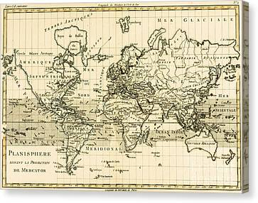 Map Of The World Using The Mercator Projection Canvas Print by Guillaume Raynal