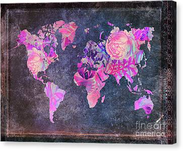 Map Of The World Vintage Canvas Print