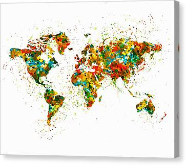 Map Of The World Watercolor Canvas Print