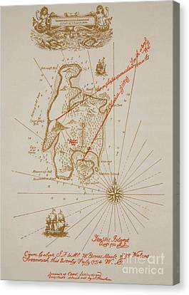 Map Of Treasure Island Canvas Print by Newell Convers Wyeth