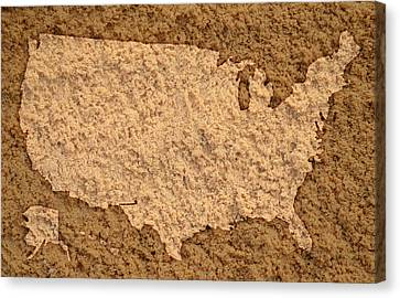 Map Of Usa On Sandy Beach Canvas Print by Design Turnpike