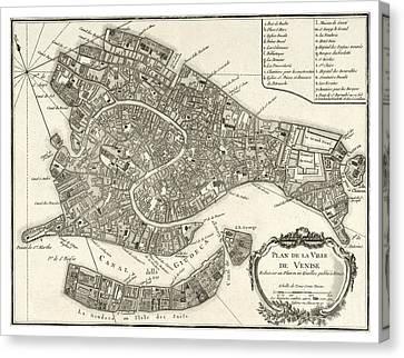 Map Of Venice - 1764 Canvas Print by Pablo Romero