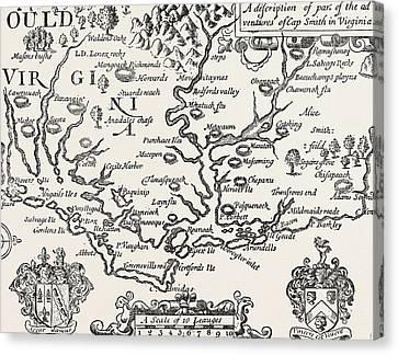 Virginia Canvas Print - Map Of Virginia by American School