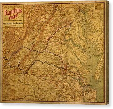 Map Of Virginia Battlefields Civil War Circa 1892 On Worn Distressed Vintage Canvas Canvas Print by Design Turnpike