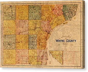 Map Of Wayne County Michigan Detroit Area Vintage Circa 1893 On Worn Distressed Canvas  Canvas Print