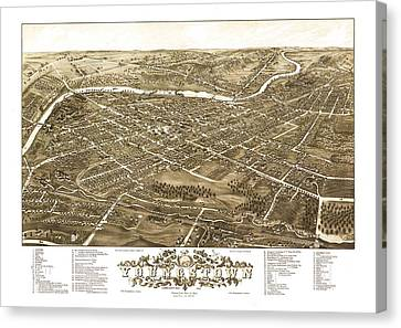 Map Of Youngstown Ohio 1882 Canvas Print by Mountain Dreams
