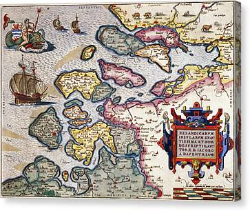 Map Of Zeeland Canvas Print by Abraham Ortelius