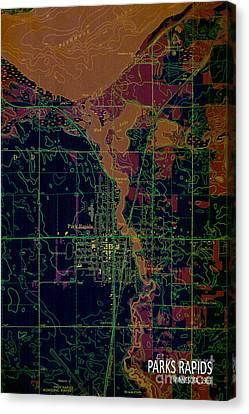 Antique Map Canvas Print - Map Park Rapids 1969 by Pablo Franchi