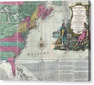 Map Showing The 13 British Colonies Canvas Print by Everett