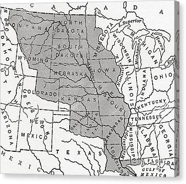 Map Showing The Louisiana Purchase Canvas Print by American School
