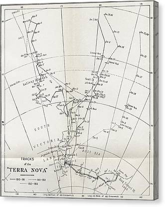 Terra Canvas Print - Map Showing The Tracks Of Robert Falcon by Vintage Design Pics