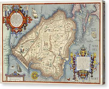 Map With Animals, Ships, Cherubs Canvas Print by Gillham Studios