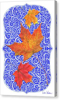 Canvas Print featuring the digital art Maple Leaves by Lise Winne
